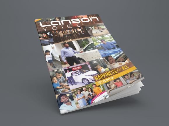 Blank brochure or magazine 3D illustration on grey for your design.